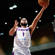 Reno Bighorns Guard AARON HARRISON (1) shoots a layup during the NBA G-League Basketball game between the Reno Bighorns and the Agua Caliente Clippers at the Reno Events Center in Reno, Nevada.