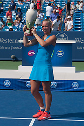 August 19, 2018 - Cincinnati, OH, USA - Western and Southern Open Tennis, Cincinnati, OH - August 19, 2018 - Kiki Bertens celebrates after beating Simona Halep  in the finals of the Western and Southern Tennis tournament held in Cincinnati. Bertens won 2-6 7-6 6-2. - Photo by Wally Nell/ZUMA Press (Credit Image: © Wally Nell via ZUMA Wire)