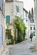 Typical street scene quaint house with shutters traditional architecture, St Martin de Re, Ile de Re, France