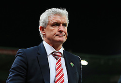 Stoke City Manager Mark Hughes looks frustrated at full time - Mandatory by-line: Matt McNulty/JMP - 18/04/2016 - FOOTBALL - Britannia Stadium - Stoke, England - Stoke City v Tottenham Hotspur - Barclays Premier League