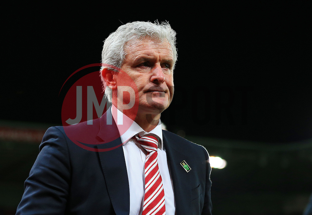 Stoke City Manager Mark Hughes looks frustrated at full time - Mandatory by-line: Matt McNulty/JMP - 18/04/2016 - FOOTBALL - Britannia Stadium - Stoke, England - Stoke City v Tottenham Hotspur - Barclays Premier League