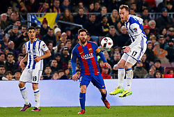 January 26, 2017 - Barcelona, Spain - David Zurutuza and Leo Messi during the 1/4 final King Cup match between F.C. Barcelona v Real Sociedad, in Barcelona, on January 26, 2017. (Credit Image: © Joan Valls/NurPhoto via ZUMA Press)