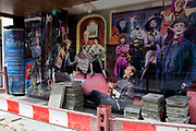 During the UK's Coronavirus pandemic lockdown and on the day when a further 255 deaths occurred, bringing the official covid deaths to 37,048, <br /> pavement works materials and barriers are next to the characters of many musical productions outside the Sondheim Theatre in Shaftesbury Avenue, still closed as per governmental rules, on 26th May 2020, in London, England. Theatres and other entertainment venues will be some of the last businesses to re-open as the UK pandemic lockdown improves and many theatres are already close to financial collapse. Lockdown has allowed some roadworks and construction to continue unhindered.