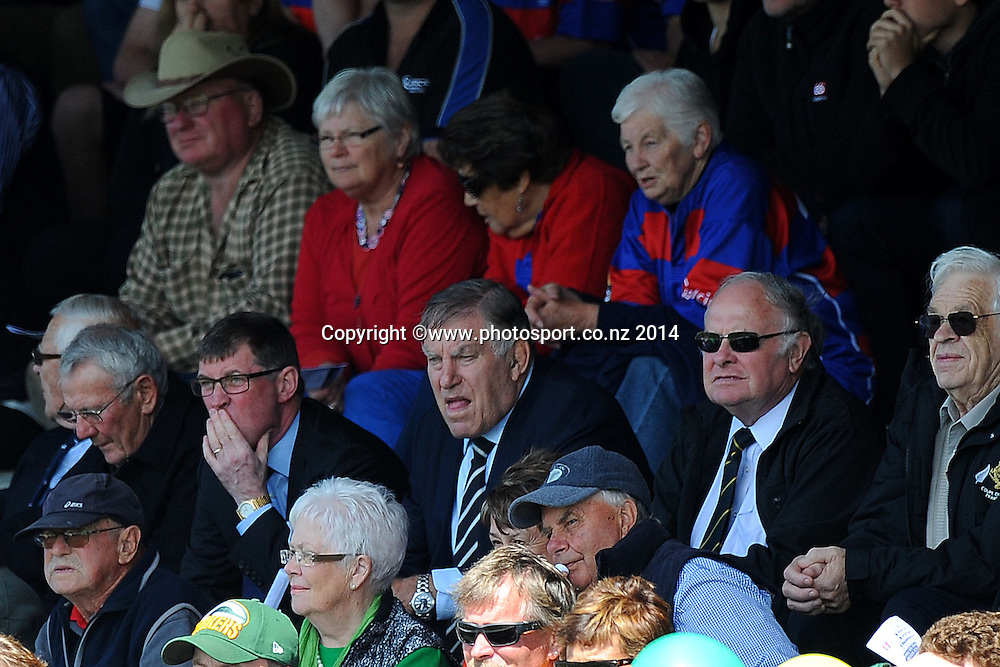 Sir Colin Meads watches the game from the stand during the Heartland Championship Meads Cup Final - Buller v Mid Canterbury. Victoria Square, Westport, New Zealand. Saturday 25 October 2014. Photo: Chris Symes/www.photosport.co.nz