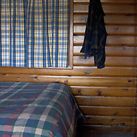 A room interior of a timber cabin. Snug Harbor, San Juan Island,Washington state USA,Log Cabin