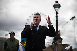© Licensed to London News Pictures . 01/04/2017 . London , UK . PAUL GOLDING speaks at the Britain First demonstration on Victoria Embankment . The EDL and Britain First both hold demonstrations in London , opposed by anti-fascist groups , including Unite Against Fascism . Photo credit : Joel Goodman/LNP