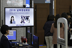 April 25, 2018 - Goyang, GYEONGGI, SOUTH KOREA - April 25, 2018-Ilsan, South Korea-A view of security check point of Inter-Korean Summit Main Press Center at Kintex in Ilsan, Goyang, South Korea. Inter-Korean Summit held in Panmunjom Peace House on April 27, 2018. (Credit Image: © Ryu Seung-Il via ZUMA Wire)