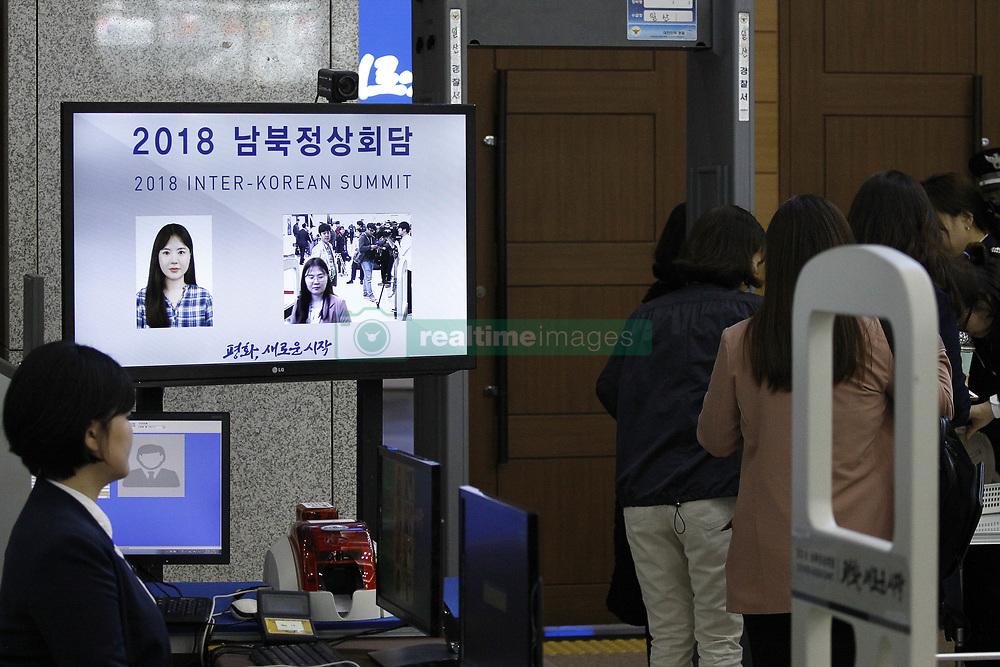 April 25, 2018 - Goyang, GYEONGGI, SOUTH KOREA - April 25, 2018-Ilsan, South Korea-A view of security check point of Inter-Korean Summit Main Press Center at Kintex in Ilsan, Goyang, South Korea. Inter-Korean Summit held in Panmunjom Peace House on April 27, 2018. (Credit Image: © Ryu Seung-Il via ZUMA Wire)