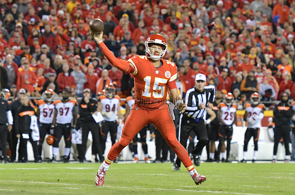 Oct 21, 2018; Kansas City, MO, USA; Kansas City Chiefs quarterback Patrick Mahomes (15) throws a pass during the second half against the Cincinnati Bengals at Arrowhead Stadium. The Chiefs won 45-10. Mandatory Credit: Denny Medley-USA TODAY Sports