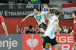 Patrick Groetzki of Germany during handball match between National teams of Germany and Czech Republic on Day 2 in Main Round of Men's EHF EURO 2018, on January 19, 2018 in Arena Varazdin, Varazdin, Croatia. Photo by Mario Horvat / Sportida