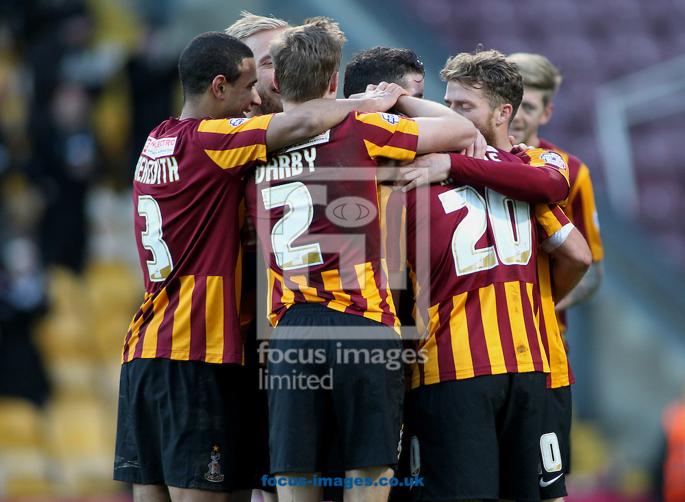 Filipe Morais (R) of Bradford City celebrates scoring the 3rd goal of the game with his team mate against  Dartford FC during the The FA Cup match at the Coral Windows Stadium, Bradford<br /> Picture by Stephen Gaunt/Focus Images Ltd +447904 833202<br /> 07/12/2014