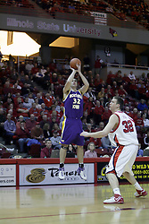 09 January 2007: Grant Stout takes a shot as Levi Dyer stands by. The Illinois State Redbirds, winless in the Missouri Valley Conference, knocked off the undefeated  Panthers of Northern Iowa 67-64 in overtime at Redbird Arena in Normal Illinois on the campus of Illinois State University.<br />
