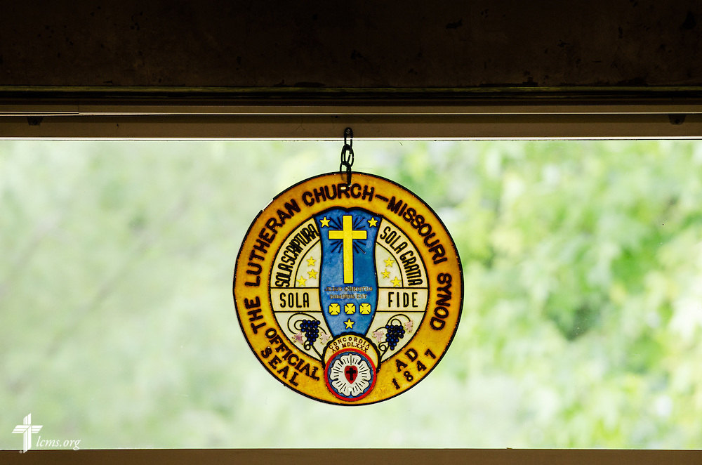 A photograph of the LCMS seal in the Zimmerman Library at Concordia University Ann Arbor on Thursday, July 3, 2014, in Ann Arbor, Mich. LCMS Communications/Erik M. Lunsford