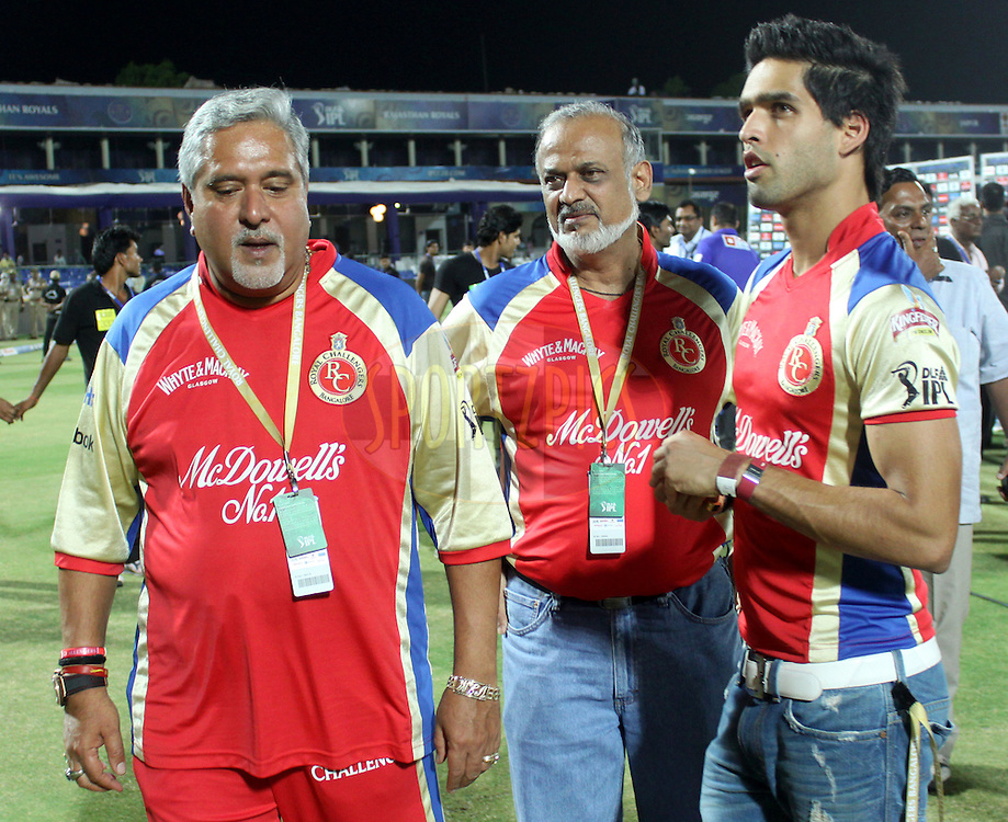 Owner of Royal Challengers Banglore Vijay Mallya(L), Brijesh Patel and Siddharth Mallya during match 55 of the the Indian Premier League ( IPL ) Season 4 between the Rajasthan Royals and the Royal Challengers Bangalore held at the Sawai Mansingh Stadium, Jaipur, Rajatshan, India on the 11th May 2011..Photo by Sandeep ShettyBCCI/SPORTZPICS.