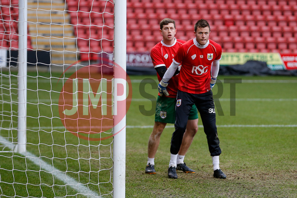 Bristol City goalkeepers Dave Richards and Frank Fielding in action  during the warm up - Photo mandatory by-line: Rogan Thomson/JMP - 07966 386802 - 20/12/2014 - SPORT - FOOTBALL - Crewe, England - Alexandra Stadium - Crewe Alexandra v Bristol City - Sky Bet League 1.