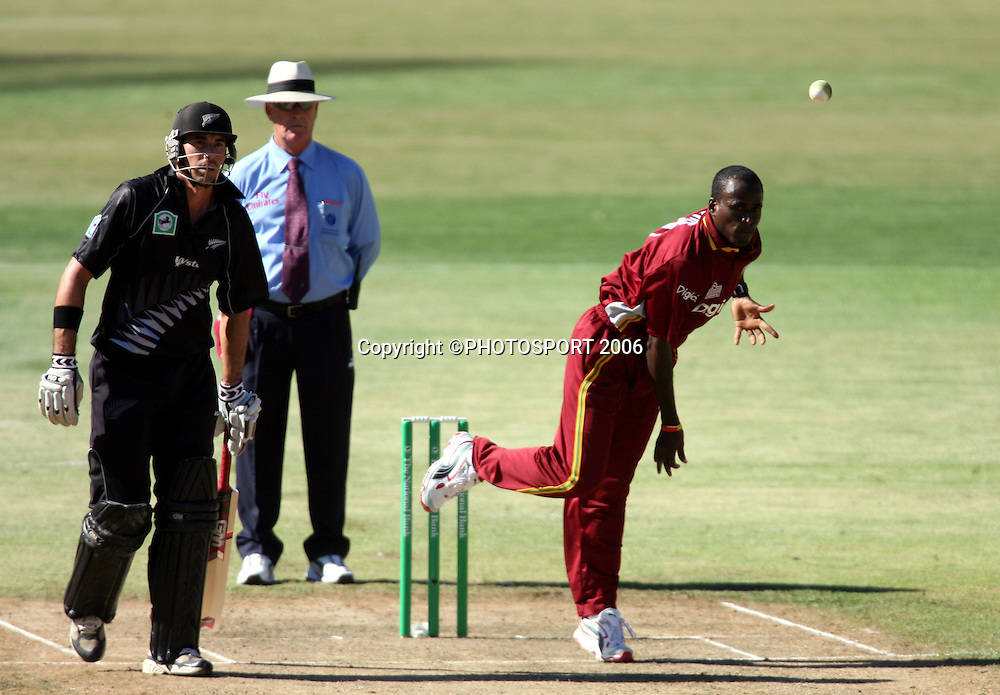 West Indies bowler Rawl Lewis in action during the 1st ODI cricket match between the West Indies and the New Zealand Black Caps at Westpac Stadium, Wellington, New Zealand, Saturday, February 18 2006. Photo: Andrew Cornaga/PHOTOSPORT<br /><br /><br />147011
