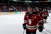 KELOWNA, BC - FEBRUARY 15: Zak Smith #11 of the Red Deer Rebels skates to the bench to celebrate a goal against the Kelowna Rockets at Prospera Place on February 15, 2020 in Kelowna, Canada. (Photo by Marissa Baecker/Shoot the Breeze)
