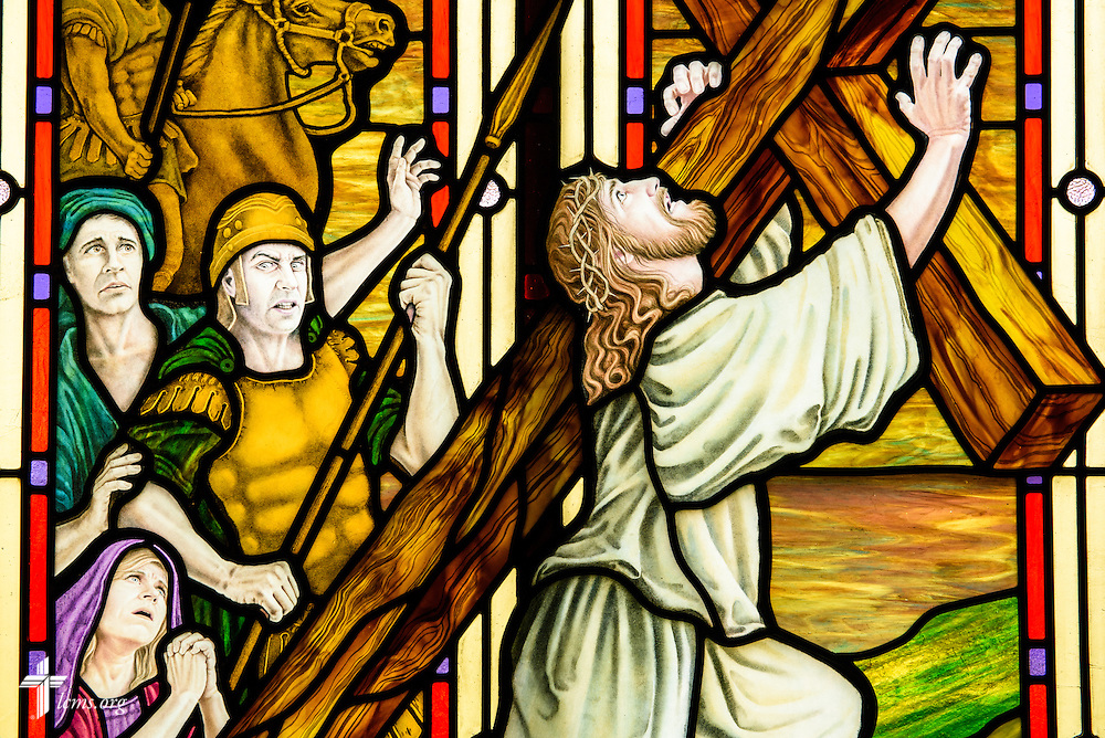 Stained glass at St. Paul Evangelical Lutheran Church in Columbus, Ind., depicts the crucifixion of Jesus Christ, photographed Sunday, April 10, 2016. LCMS Communications/Erik M. Lunsford
