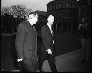 James Callaghan Visits Dublin..1971..05.02.1971..02.05.1971..5th February 1971..While in Dublin to meet the Taoiseach, Mr Jack Lynch TD,the former British Home Secretary, James Callaghan paid a courtesy call on the leader of the opposition Mr Liam Cosgrave TD..Picture shows Mr James Callaghan MP,(Left), arriving at Leinster House,Dublin on his way to meet Mr Liam Cosgrave TD.