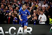 Chelsea FC forward Pedro (11) celebrates his first goal during the Europa League quarter-final, leg 2 of 2 match between Chelsea and Slavia Prague at Stamford Bridge, London, England on 18 April 2019.