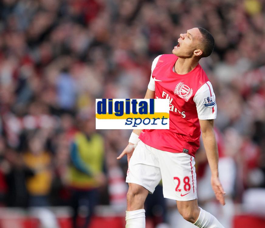 20120226: LONDON, UK - Barclays Premier League 2011/2012: Arsenal vs Tottenham.<br /> In photo: Arsenals Keiran Gibbs celebrates his sides fourth goal.<br /> PHOTO: CITYFILES