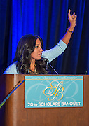 Diana Davila comments during the Scholars banquet, April 12, 2016.