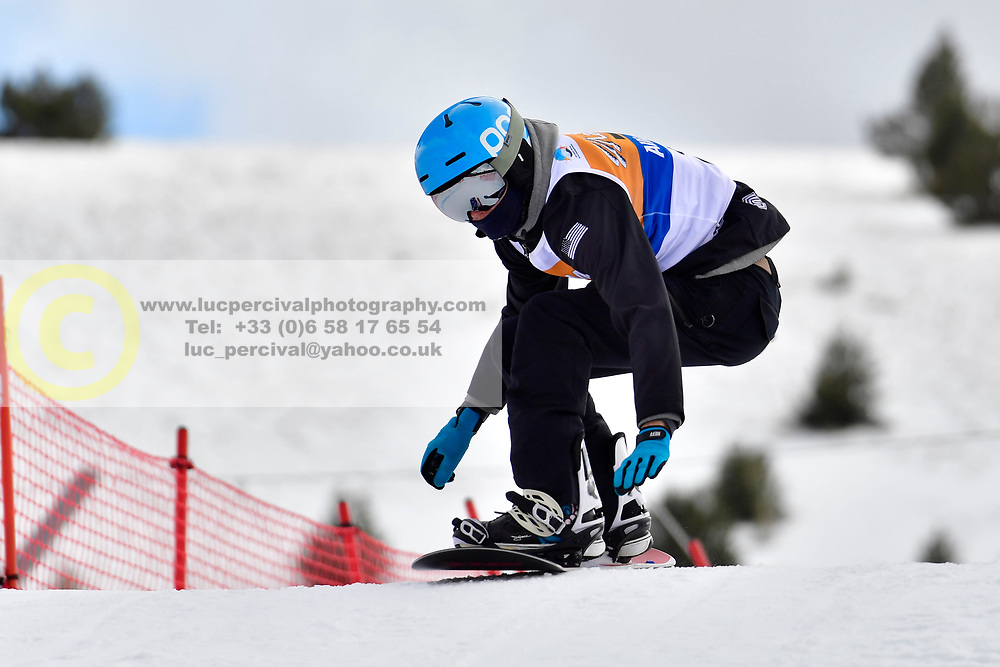 MILLER Zach, SB-LL2, USA, Banked Slalom at the WPSB_2019 Para Snowboard World Cup, La Molina, Spain