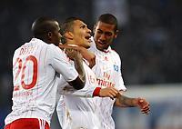 Fotball<br /> Tyskland<br /> Foto: Witters/Digitalsport<br /> NORWAY ONLY<br /> <br /> 23.11.2008<br /> <br /> 1:0 Jubel HSV v.l. Guy Demel, Torschuetze Paolo Guerrero, Jerome Boateng<br /> Bundesliga Hamburger SV - Werder Bremen