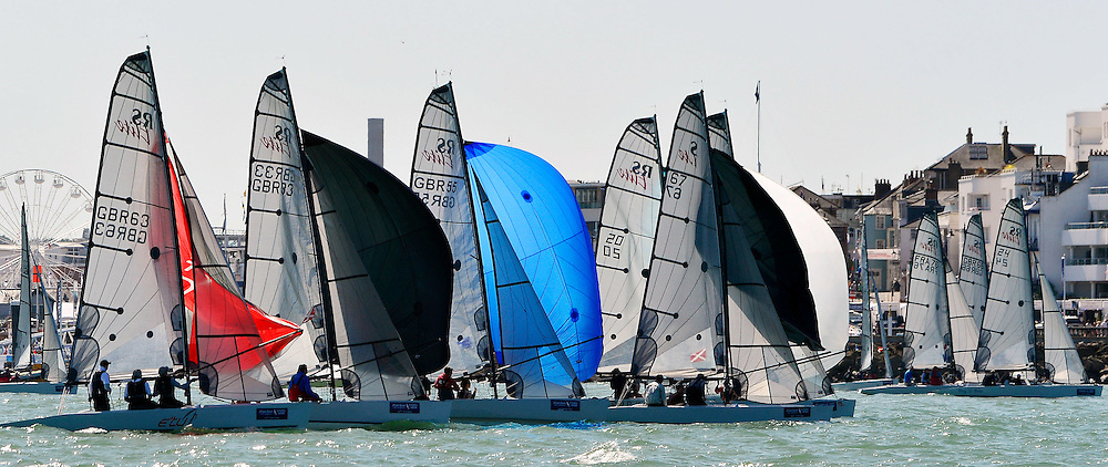 COWES, ENGLAND - AUGUST 09: Aberdeen Asset Management COWES WEEK Regatta Rs Elite Class on August 9, 2016 in Cowes, England. (Photo by Leo Mason Split Second/Corbis via Getty Images)