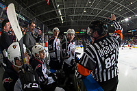 KELOWNA, CANADA - NOVEMBER 28: Vancouver Giants'  coach speaks to referee Jeff Ingram from the bench against the Kelowna Rockets during second period on November 28, 2018 at Prospera Place in Kelowna, British Columbia, Canada.  (Photo by Marissa Baecker/Shoot the Breeze)