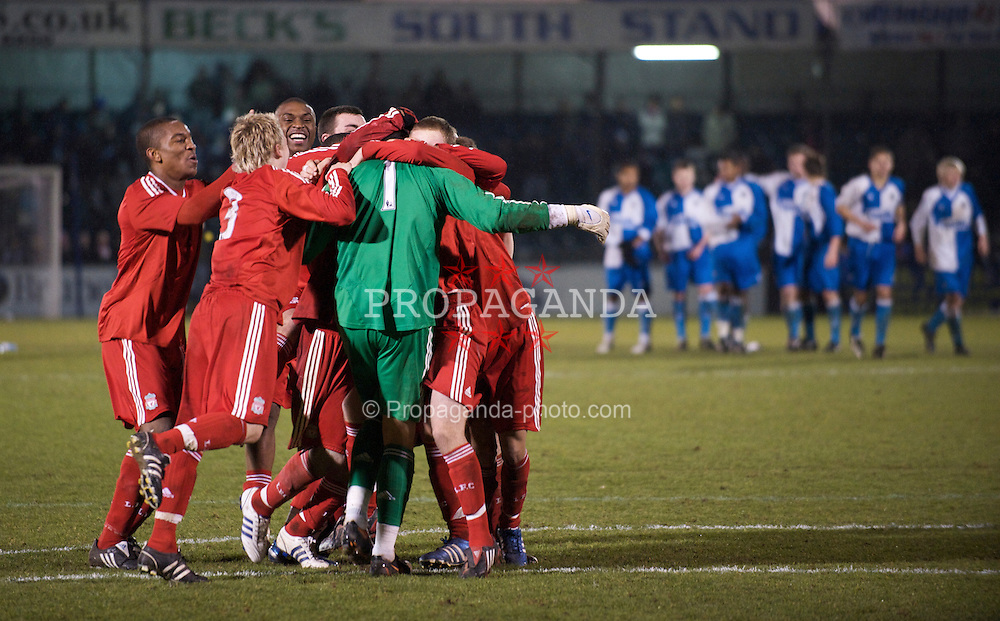 BRISTOL, ENGLAND - Thursday, January 15, 2009: Liverpool players rush to celebrate with penalty shoot-out hero goalkeeper Dean Bouzanis after their victory over Bristol Rovers during the FA Youth Cup match at the Memorial Stadium. (Mandatory credit: David Rawcliffe/Propaganda)