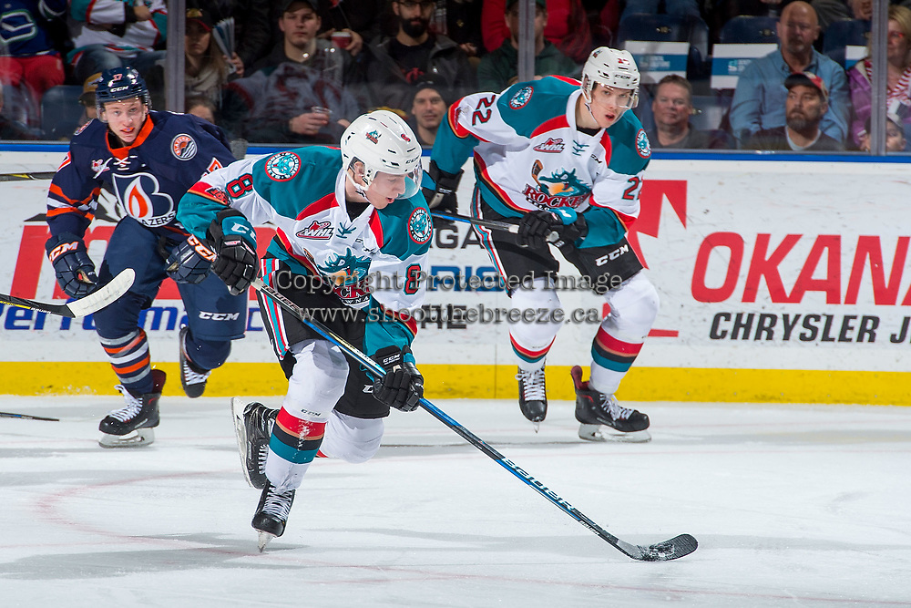 KELOWNA, CANADA - DECEMBER 27: Jack Cowell #8 of the Kelowna Rockets skates with the puck against the Kamloops Blazers on December 27, 2017 at Prospera Place in Kelowna, British Columbia, Canada.  (Photo by Marissa Baecker/Shoot the Breeze)  *** Local Caption ***