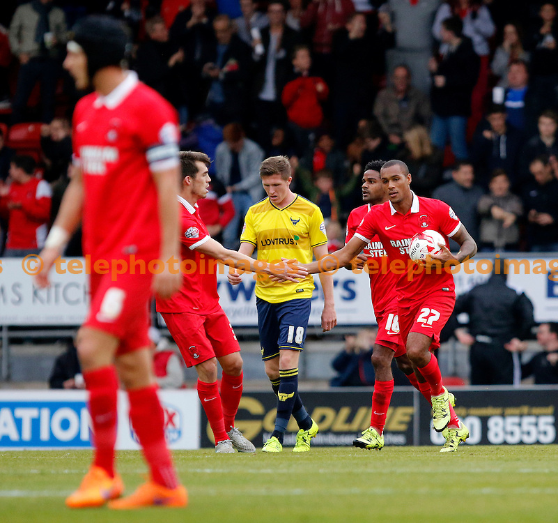 Jay Simpson of Leyton Orient makes it 1-2 during the Sky Bet League 2 match between Leyton Orient and Oxford United at the Matchroom Stadium in London. October 17, 2015.<br /> Carlton Myrie / Telephoto Images<br /> +44 7967 642437
