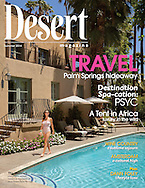 Desert Magazine Cover Story about the Willows Hotel in palm Springs. Hotel originally was the the home of Hollywood Movie star Marion Davies. Famous Guests of Marion included Albert Einstein