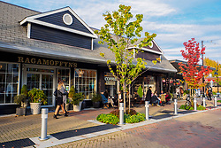 United States, Washington, Kirkland. November 6, 2016. Shops along Park Lane in the downtown shopping district.