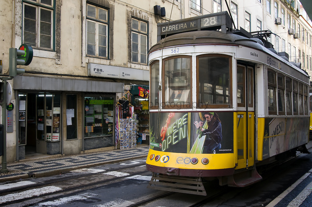 Tram in the streets of  Lisbon city centre