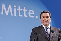 """13 MAY 2002, BERLIN/GERMANY:<br /> Gerhard Schroeder, SPD, Bundeskanzler, vor dem Schriftzug """"Die Politik der Mitte"""" waehrend der Pressekonferenz zur vorangegangenen SPD Parteikonferenz, Willi-Brandt-Haus<br /> IMAGE: 20020513-03-020<br /> KEYWORDS: Gerhard Schröder"""