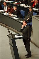 24 NOV 1999, BERLIN/GERMANY:<br /> Gerhard Schröder, SPD, Bundeskanzler, während seiner Rede, im Hintergrund: Regierungsbank mit Hans Eichel, Herta Däubler-Gmelin, Otto Schily, Joschka Fischer; Debatte zum Haushaltsgesetz 2000, Plenum, Deutscher Bundestag, Reichstag<br /> Gerhard Schroeder, Fed. Chancellor, during his speech, during the debate about the butget 2000, plenary, German Bundestag, Reichstag<br /> IMAGE: 19991124-01/04-05