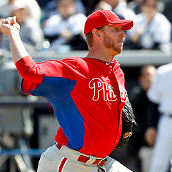 March 4, 2012; Tampa Bay, FL, USA; Philadelphia Phillies starting pitcher Roy Halladay (34) against the New York Yankees during spring training game at George M. Steinbrenner Field. Mandatory Credit: Derick E. Hingle-US PRESSWIRE