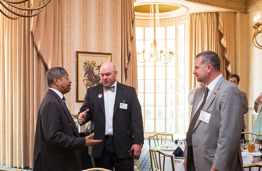 Ohio University President Roderick McDavis chats with Tony Tanner after the Ohio University State Government Alumni Luncheon on Tuesday, May 5, 2015.  Photo by Ohio University  /  Rob Hardin