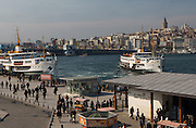 The bridge and ferry services on the Golden Horn, Eminonu, Istanbul