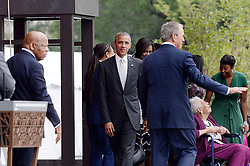 Rep. John Lewis (L), U.S President Barack Obama (C), former President George W. Bush (R) share the stage with the Bonner Family during the opening ceremony of the Smithsonian National Museum of African American History and Culture on September 24, 2016 in Washington, DC, USA. The museum is opening thirteen years after Congress and President George W. Bush authorized its construction. Photo by Olivier Douliery/Pool/ABACAPRESS.COM