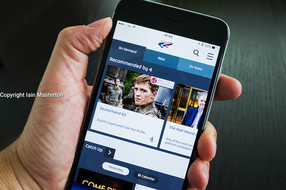 Homepage of Channel 4's More4 on demand TV catchup streaming app on iPhone 6 plus smart phone