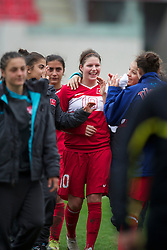 LLANELLI, WALES - Thursday, March 31, 2011: Turkey's hat-trick hero Leyla Gu?ngo?r celebrates her side's 3-1 victory over Iceland during the UEFA European Women's Under-19 Championship Second Qualifying Round (Group 3) match at Parc Y Scarlets. (Photo by David Rawcliffe/Propaganda)