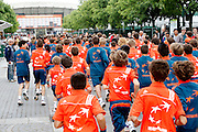 Roland Garros. Paris, France. June 1st 2012.A day with the ball boys..10:00 AM, doors are open to the public, ball boys run and sing all over Roland Garros.