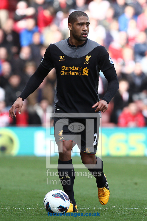 Picture by Daniel Chesterton/Focus Images Ltd +44 7966 018899.16/03/2013.Glen Johnson of Liverpool in action during the Barclays Premier League match at the St Mary's Stadium, Southampton.