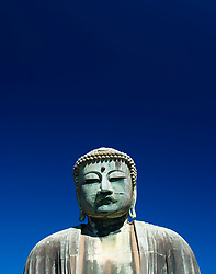 Detail of Great Buddha statue at Kamakura in Japan