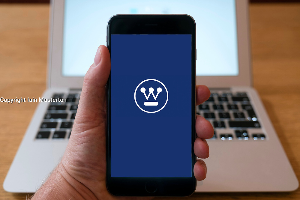 Logo of Westinghouse company on website on a smart phone