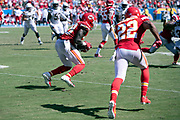 Kansas City Chiefs defensive back Ron Parker (38) runs with the ball after intercepting a third quarter pass that stops a Los Angeles Chargers drive and gives the Chiefs the ball at their 14 yard line during the 2018 regular season week 1 NFL football game against the Los Angeles Chargers on Sunday, Sept. 9, 2018 in Carson, Calif. The Chiefs won the game 38-28. (©Paul Anthony Spinelli)