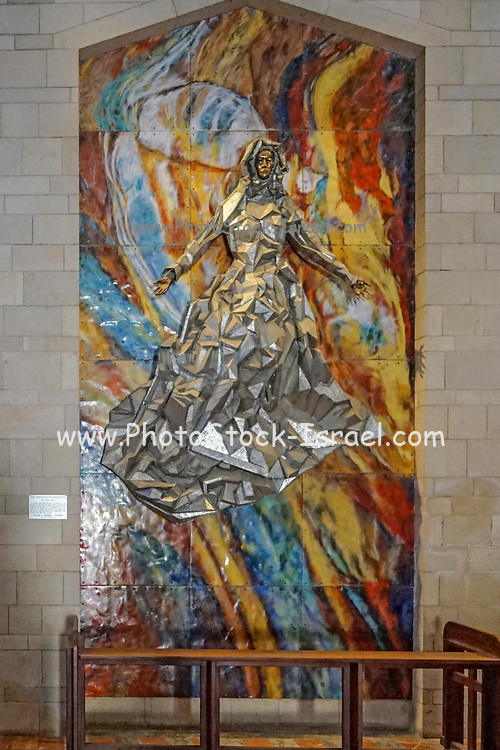 Religious artwork. Mosaic of the Madonna and Child from the USA at the Basilica of the Annunciation, Israel, Nazareth